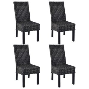 vidaXL Καρέκλες Τραπεζαρίας 4 τεμ. Μαύρες Ρατάν Kubu και Ξύλο Μάνγκο-275469