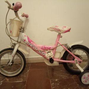 """ροζ ποδήλατο παιδικό με βοηθητικές, 14"""""""