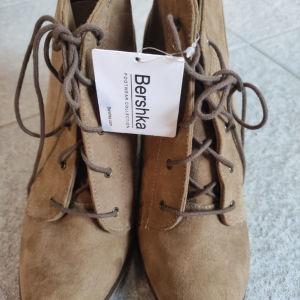 Bershka lace boots 41 nude brown