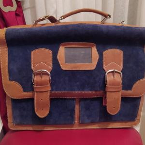 Δερμάτινη τσάντα με δύο χωρίσματα από μεσα