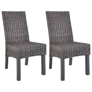 vidaXL Καρέκλες Τραπεζαρίας 2 τεμ. Καφέ από Ρατάν Kubu και Ξύλο Μάνγκο-246655