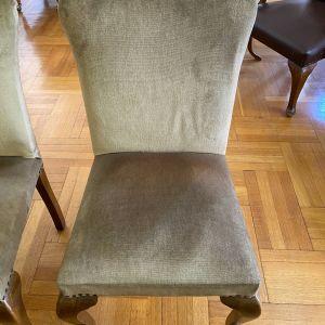 Καρέκλες βελούδινες από μασίφ ξύλο χωρίς μπράτσα