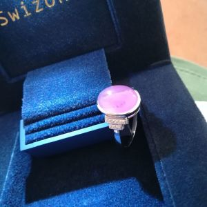 18k white gold with pink sapphire 6.5ct and diamonds retail estimate 4500€ new with certificates