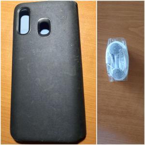 Samsung Θήκη Book Cover για Galaxy A40 Μαύρη + ακουστικά