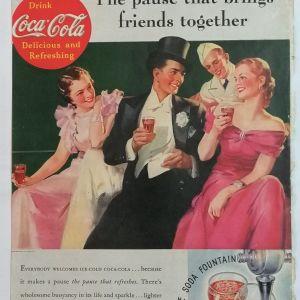 Coca Cola - διαφήμιση από παλιό Αμερικανικό περιοδικό