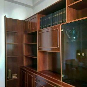Ξύλινη βιβλιοθήκη - μπαρ- σύνθετο καρυδιά