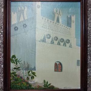 πίνακας ζωγραφικής ελαιογραφία σε καμβά με διαστάσεις 55 Χ 46 και καθαρές διαστάσεις 48 Χ 38 εκατοστά