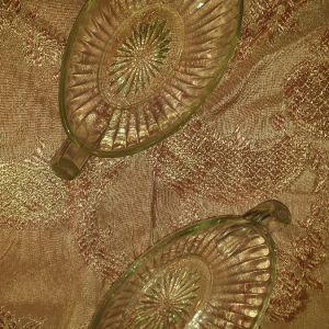 Σετ vintage γυάλινα μπωλ σερβιρίσματος με χερούλια