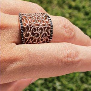 Δαχτυλίδι Ασημένιο 925 με Ροζ Επιχρύσωση
