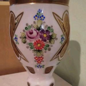 Ποτήρι   Βοημιας, Moser, οπαλινα με γυαλί, ζωγραφισμένο με σμάλτο στο χέρι.
