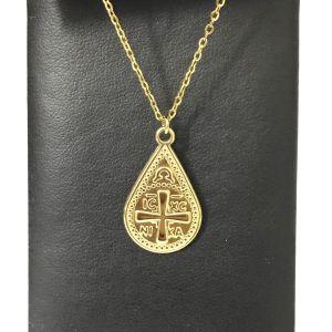 Φυλαχτό ασημί 925, Κωνσταντινάτο, δάκρυ ανάγλυφο σχέδιο IC XC NIKA με σταυρό.