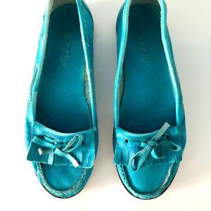 Παπούτσια Creator, loafers, τυρκουάζ, δερμάτινα, νούμερο 36