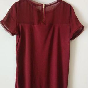 μπλουζάκι κοντομάνικο H&M size Small χρώμα μπορντό μεταχειρισμένο