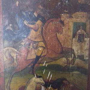 Εικονα του Αγιου Δημητριου 19ου αιωνα κειμηλειο.Διαστασεις 30 επί 37 ύψος.