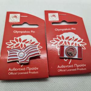 2 Συλλεκτικές καρφίτσες πέτου η pins του Ολυμπιακού