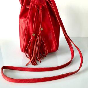 Τσάντα mini bucket bag, κόκκινη δερμάτινη, made in USA