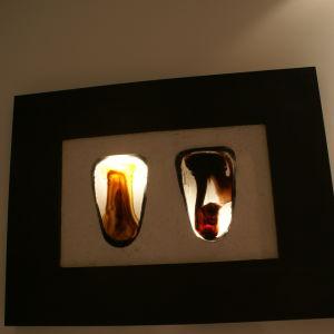 Πίνακας με 2 γυάλινα προσωπεία NEA TIMH