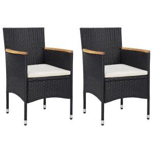 vidaXL Καρέκλες Τραπεζαρίας Κήπου 2 τεμ. Μαύρες από Συνθετικό Ρατάν-46181