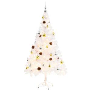 vidaXL Χριστουγεννιάτικο Δέντρο Στολισμένο με Μπάλες/LED Λευκό 150 εκ.-246395