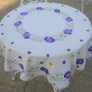 Τραπεζομάντιλο κουκουλάρικο ροτόντα, χειροποίητο κεντημένο στο χέρι με πανέμορφα χρώματα, διαμέτρου 2.00μ.