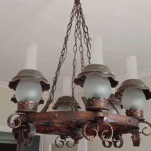 Εξάφωτο φωτιστικό οροφής ρουστίκ vintage  από χαλκό και ξύλο