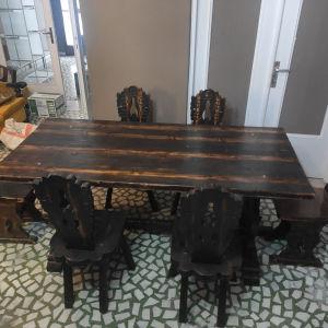 τραπεζαρία μασιφ με 6 καρέκλες