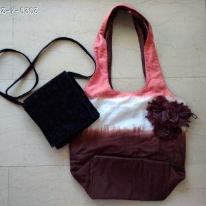 Μπατίκ βαμβακερή τσάντα και δώρο βραδινό βελούδινο τσαντάκι