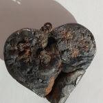Καρδια πετρινη ,κολιε με ασημανιο δεσιμο