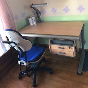 Ρυθμιζόμενο γραφείο με ρυθμιζόμενη καρέκλα και φωτιστικό
