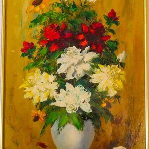 Ελαιογραφία   Λουλούδια σε βάζο   Σε κορνίζα   51x35