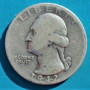ΗΠΑ ΑΣΗΜΈΝΙΟ ΤΈΤΑΡΤΟ του ΔΟΛΆΡΙΟΥ 1942 - USA 1/4 DOLLAR 1964 SILVER