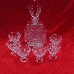Σετ λικέρ Ernst Buder Germany 1960 Art Deco bleikristall
