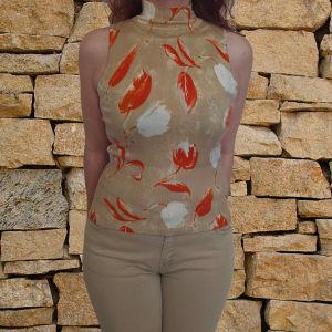 Αμάνικο ζιβάγκο μπεζ μπλουζάκι