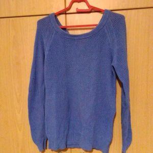 Πουλόβερ γυναικείο με μικρο φερμουάρ πίσω γαλάζιο σκούρο