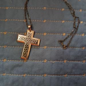 ανδρικός σταυρός ατσάλινος με ασημένια αλυσίδα