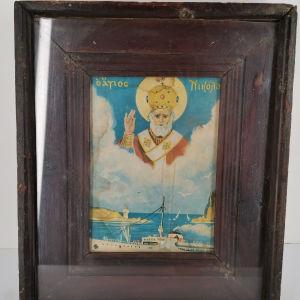 Εικόνα Άγιος Νικόλαος με κορνίζα μαύρη - εποχής 1950