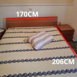 σετ κρεβατοκάμαρας (διπλό κρεβάτι με στρώμα (Linea Strom), 2 κομοδίνα, αποθηκευτικός χώρος, γυναικεία τουαλέτα με καθρέφτη)