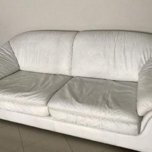 Καναπές δερμάτινος λευκός