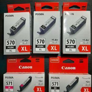 Γνήσια Μελάνια Canon : 3x PGI 570 PGBK XL, 1xCLI 571 BK XL, 1xCLI 571 M XL