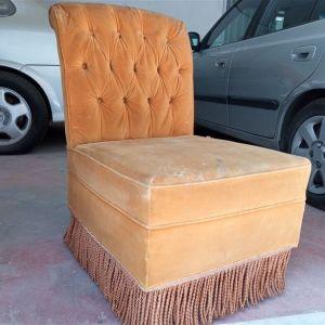 Πολυθρόνα ξύλινη αντίκα με κρόσσια