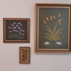 3 Χειροποίητοι πίνακες με λουλουδια