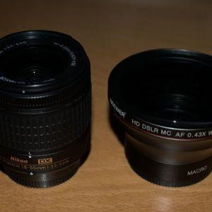 Πωλείται φακός Neewer 58MM 0.43x Professional HD Wide Angle Lens (Macro Portion) μαζί με τον φακό Nikon AF-P DX Nikkor 18-55mm