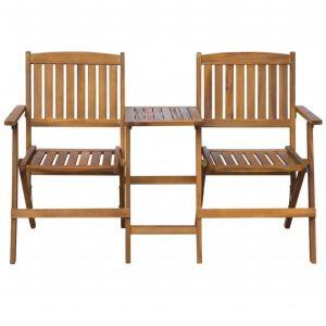 vidaXL Κάθισμα Κήπου Πτυσσόμενο με Τραπέζι 140 εκ. Μασίφ Ξύλο Ακακίας-42654