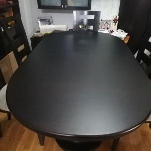 Τραπέζι τραπεζαρίας μασιφ ξύλο με 6 καρέκλες