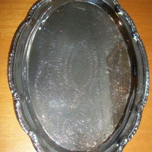 οβάλ ανοξείδωτος δίσκος σερβιρίσματος χωρίς χερούλια