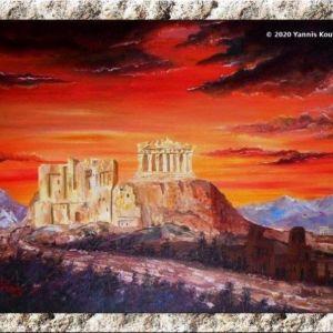 Πίνακας ζωγραφικής (Acropolis - Parthenon) Έργο ζωγραφισμένο στο χέρι σε τελαρωμένο καμβά - 35X50X1.5 cm