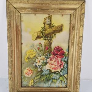 Εικόνα με κορνίζα ξύλινη Σταυρός με άνθη - εποχής 1950
