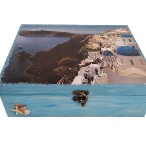 """Χειροποίητο Ξύλινο κουτί αποθήκευσης με εικόνα """"ΣΑΝΤΟΡΙΝΗ"""""""