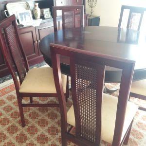 Τραπέζι ροτόντα, 6 καρέκλες + επέκταση.