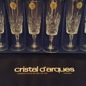 Ποτήρια σαμπάνιας/ ούζο.Cristal D'Arques Chantilly Taille Beaugency. Γαλλικό κρύσταλλο αντίκες.